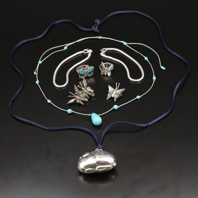 Sterling Jewelry Selection Including Abalone and Gemstones