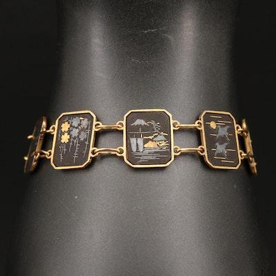 Japanesque Damascene Panel Bracelet