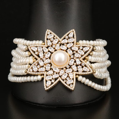 Sterling Silver Pearl and Cubic Zirconia Multi-Strand Bracelet