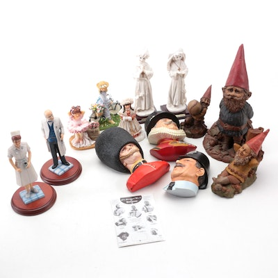 English Bossons Figural Chalkware Wall Hangings and Other Figurines