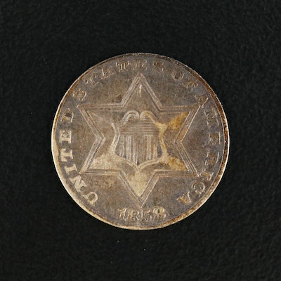 """1858 3-Cent """"Trime"""" Silver Coin"""