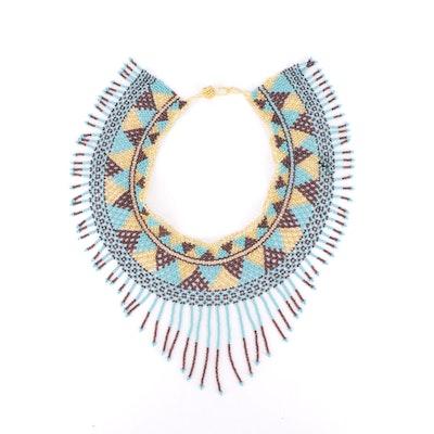 Handmade Geometric Patterned Beaded Fringe Collar