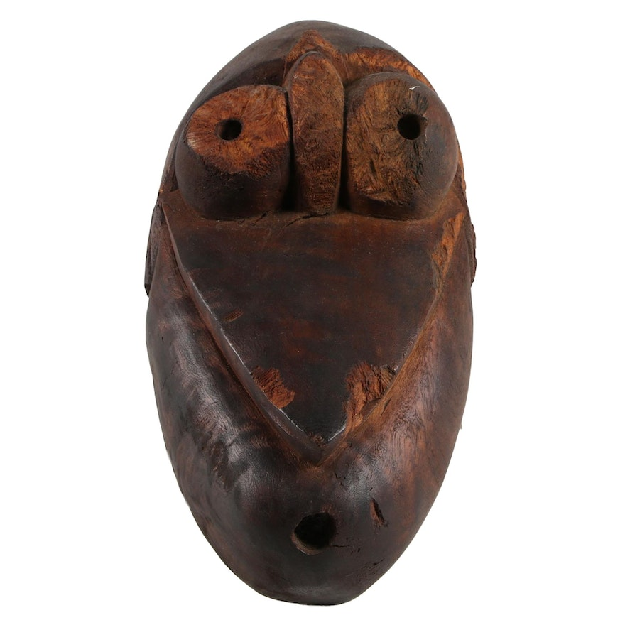 Papua New Guinea Inspired Carved Wood Mask