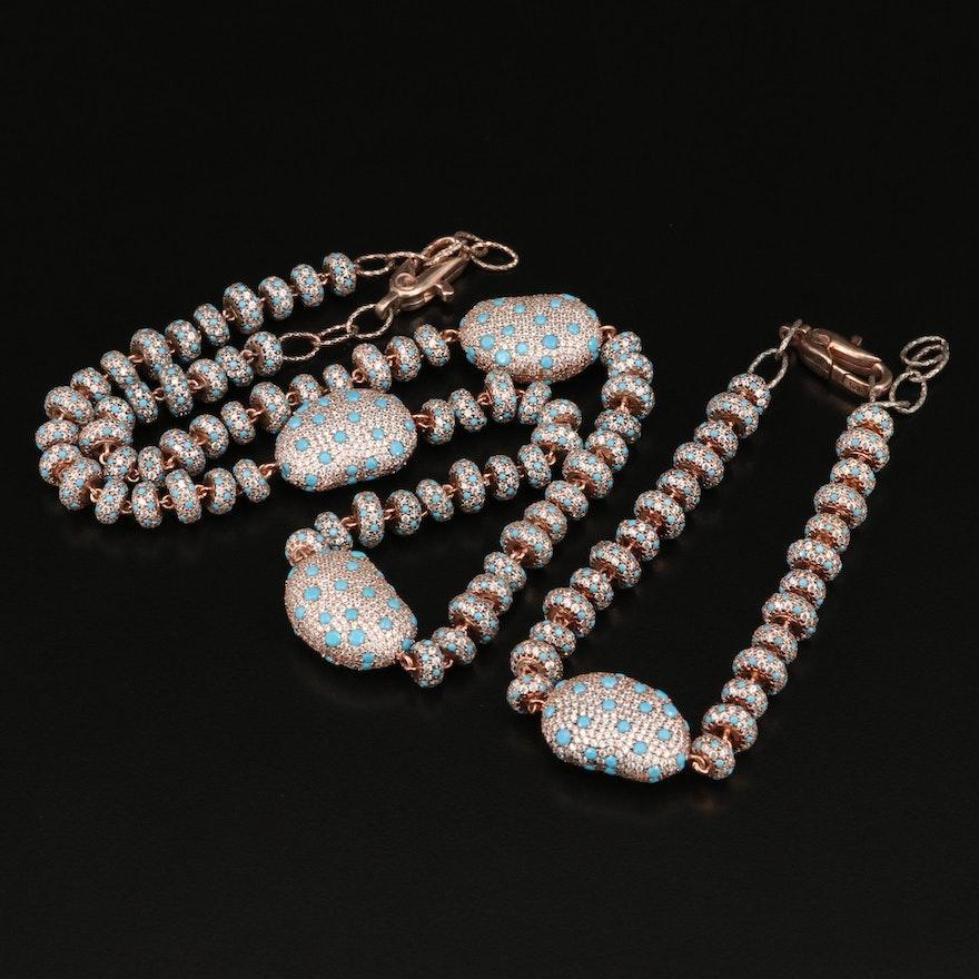 Sterling Silver Pavé Cubic Zirconia Beaded Necklace and Bracelet Set