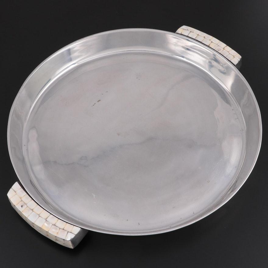 """Pottery Barn """"Barona"""" Polished Aluminum Tray"""