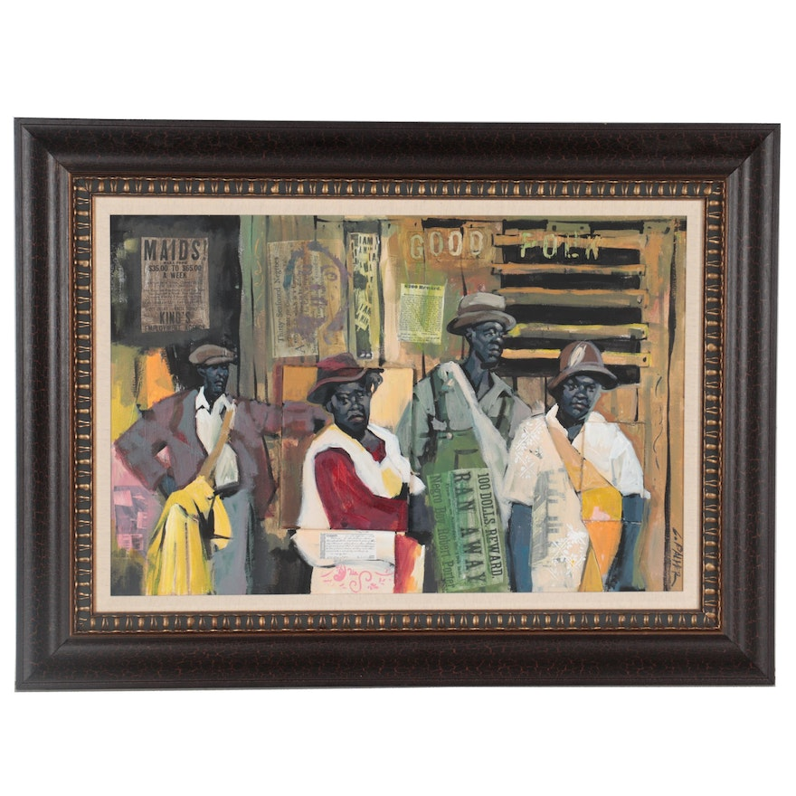"""Charly Palmer African-American Figurative Mixed Media Painting """"Good Folk"""""""