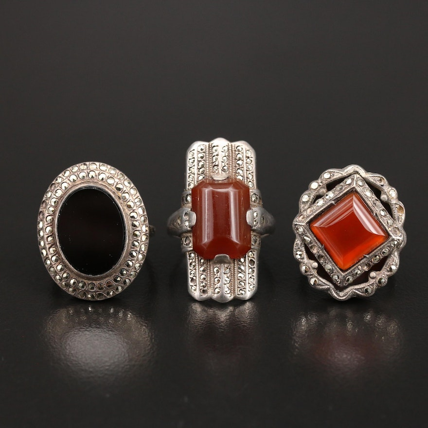 Art Deco Style Carnelian and Gemstone Rings Featuring Uncas