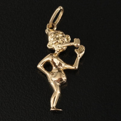 18K Figure with Pipe Pendant