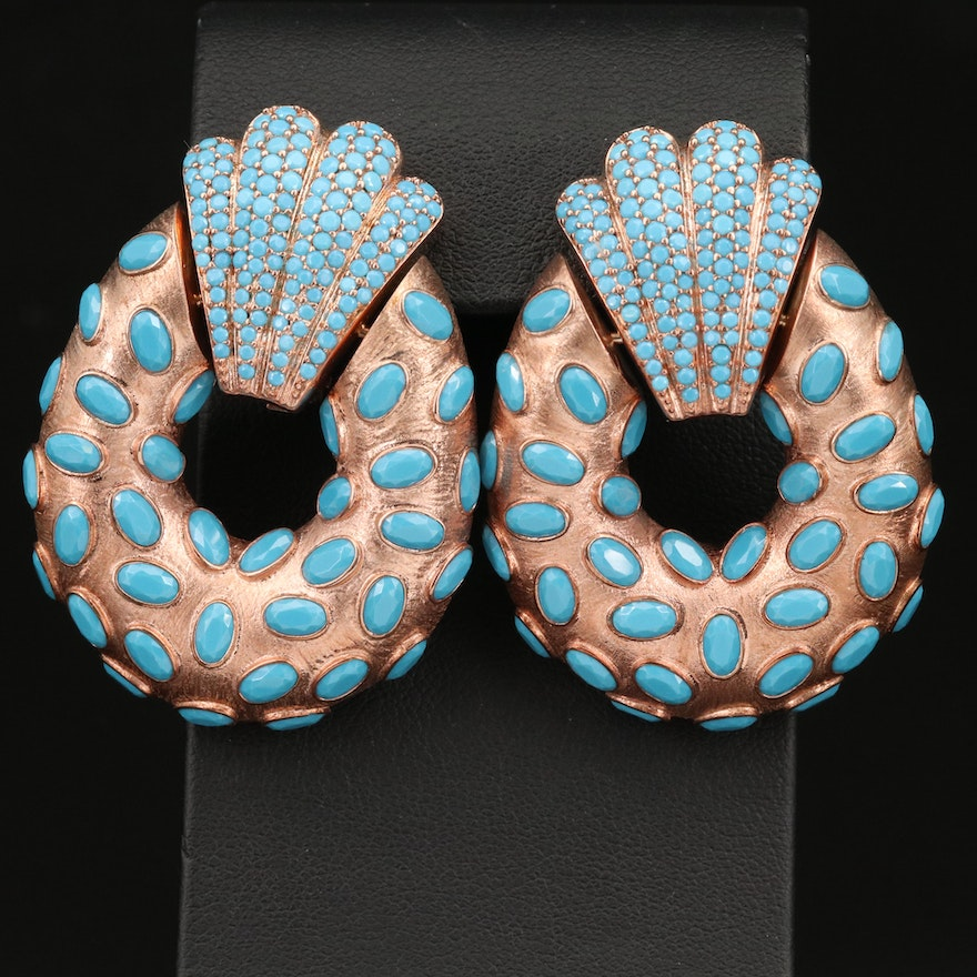 Sterling Silver Faux Turquoise Clip Earrings