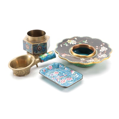 Chinese Cloisonné Enameled Ashtray, and Silk Iron with Other Table Accessories