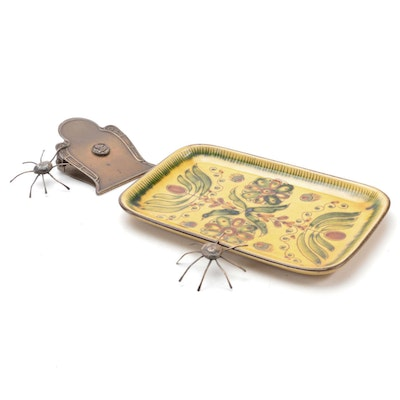 Werner Burri Design Ceramic Calling Card Tray with Brass Document Clip and Pins