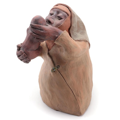 Dennis Bergevin Clay Sculpture of an Elderly Woman and Baby