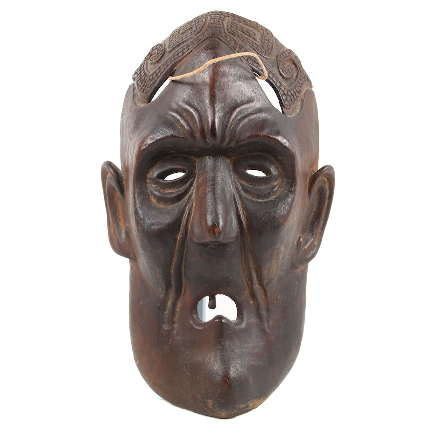 Himalayan Carved Wood Mask of an Old Man