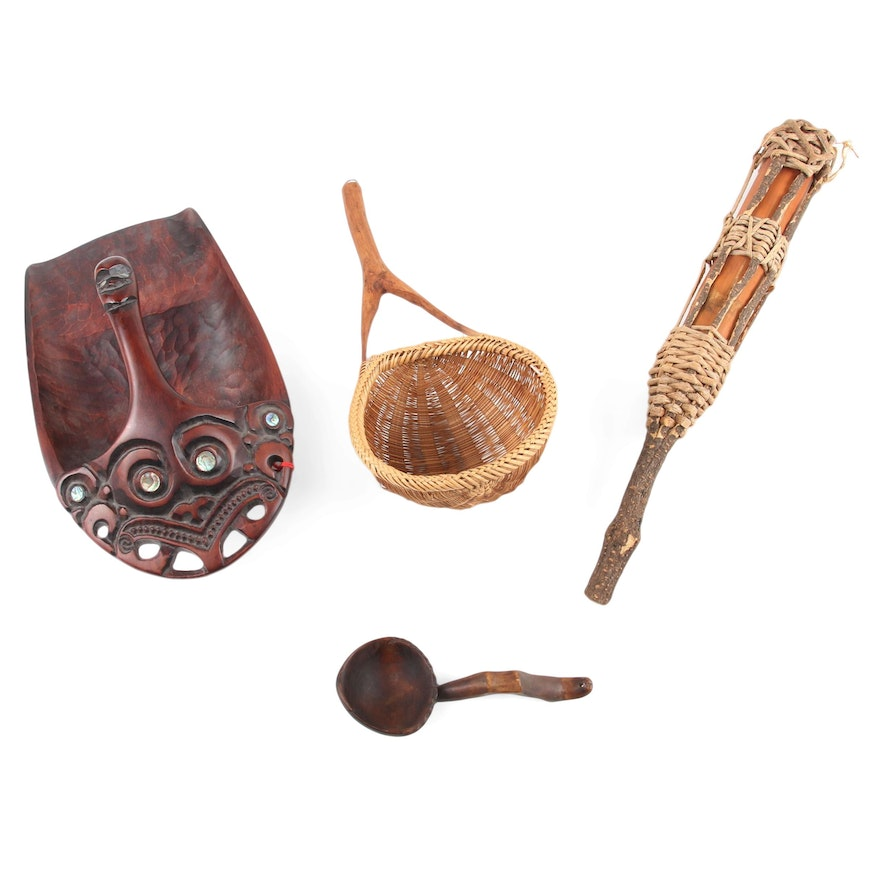 Māori  Wood Bailer, Ifugao Style Bowl, Woven Rice Scoop, and Bamboo Container