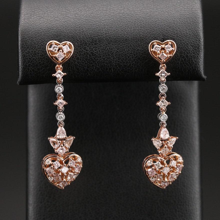 18K Diamond Heart Drop Earrings