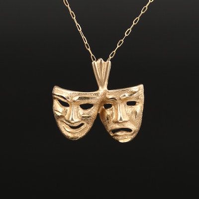 """14K """"Comedy and Tragedy Masks"""" Pendant Necklace"""