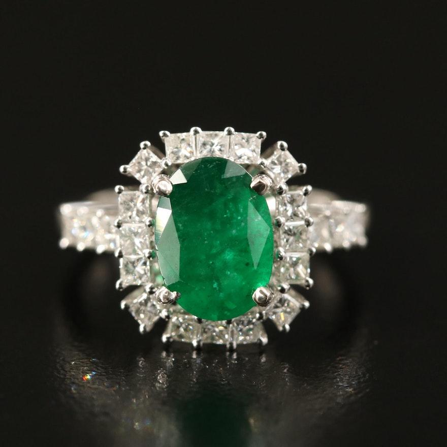14K 2.02 CT Emerald and 1.03 CTW Diamond Ring