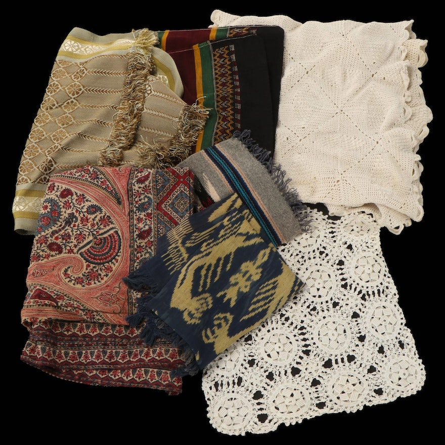 Table and Bedding Linens Including Runners, Tablecloth, Pillow Cover, and More