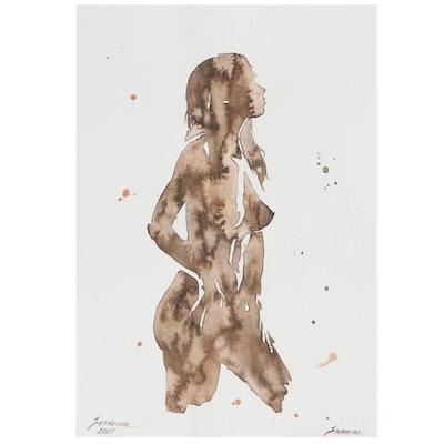 Anastasija Serdnova Abstract Figural Watercolor Painting of Female Nude, 2021