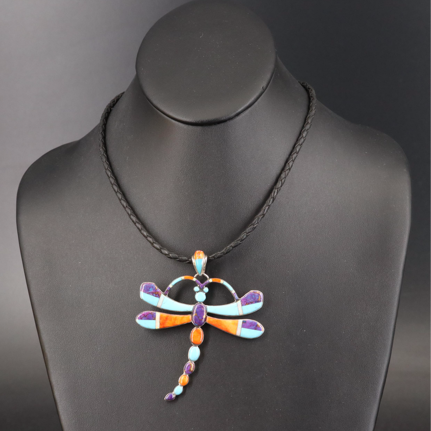 Inlay Dragonfly Necklace Including Spiny Oyster, Opal and Faux Turquoise