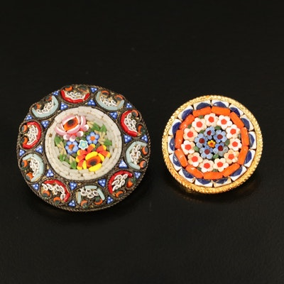 Italian Micromosaic Floral Brooches