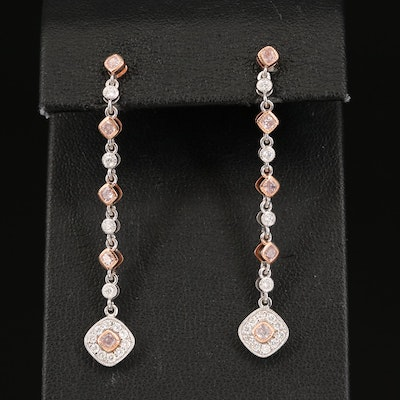 18K 1.10 CTW Diamond Drop Earrings with Rose Gold Accents
