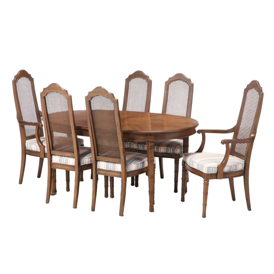 Henredon Walnut Extension Dining Table with Six Cane Back Chairs, Late 20th C.