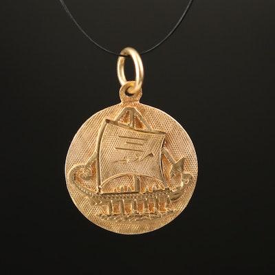18K Viking Ship Pendant
