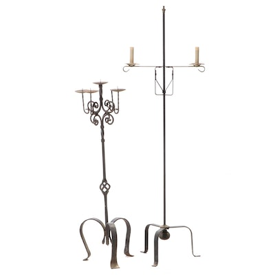 Two Iron Tripod Candle Stands, 20th Century