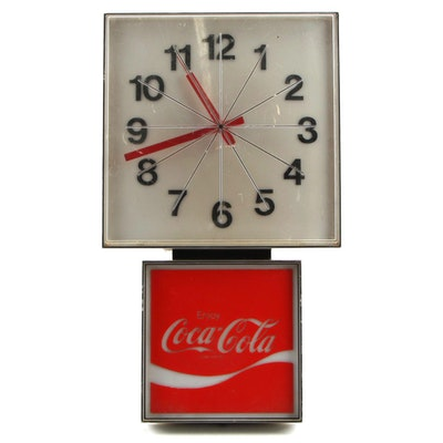 """Enjoy Coca-Cola"" Electric Illuminated Wall Clock, Mid to Late 20th Century"