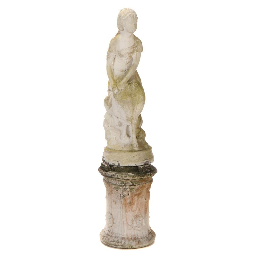 Neoclassical Style Cast Concrete Garden Statue of a Seated Girl