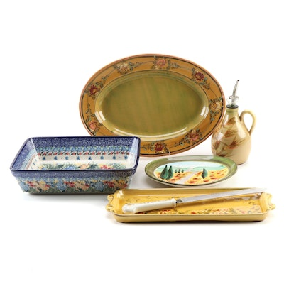 """Veronique Pichon """"French Rose"""" Ceramic Platter with Other Tableware"""