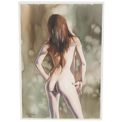 Anastasija Serdnova Watercolor Painting of a Standing Nude, 2021