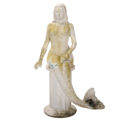 Cast Concrete Garden Statue of a Mermaid Seated on Pedestal
