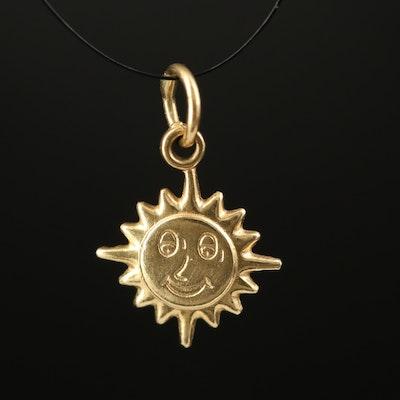 18K Smiling Sun Pendant