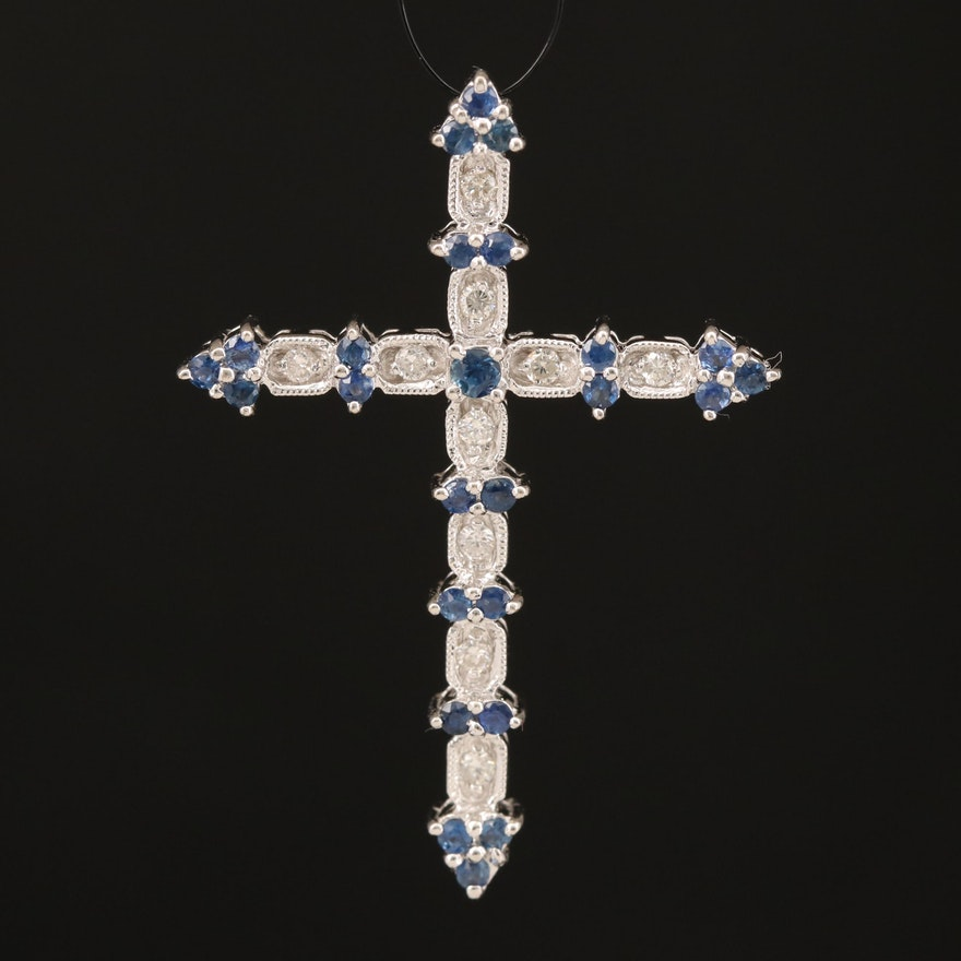 18K Sapphire and Diamond Cross Pendant