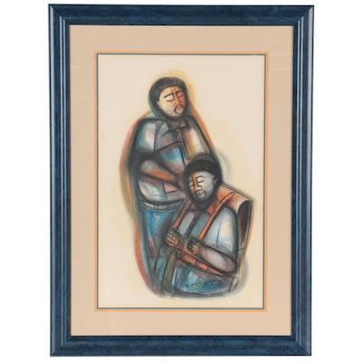 Godfrey Ndaba Pastel Drawing of Two Figures, 1989