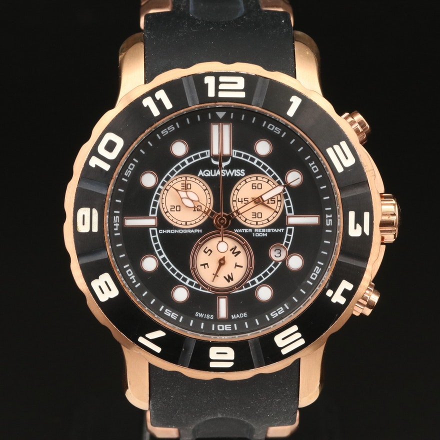 Aquaswiss Stainless Steel Chronograph Wristwatch with Date