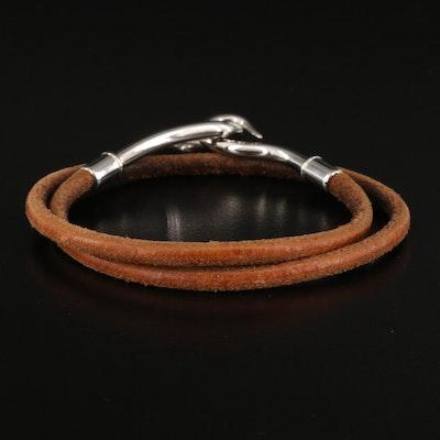 Hermès Jumbo Hook Double Wrap Tour Leather Bracelet