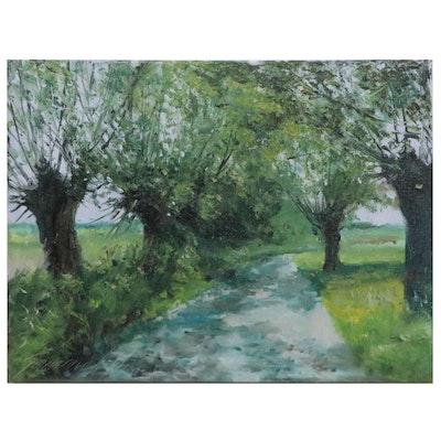 "Garncarek Aleksander Landscape Oil Painting ""Droga z Wierzbami,"" 2021"