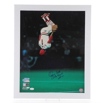 "Ozzie Smith ""The Wizard"" Signed World Series 1985 Back Flip Photo Print, COA"