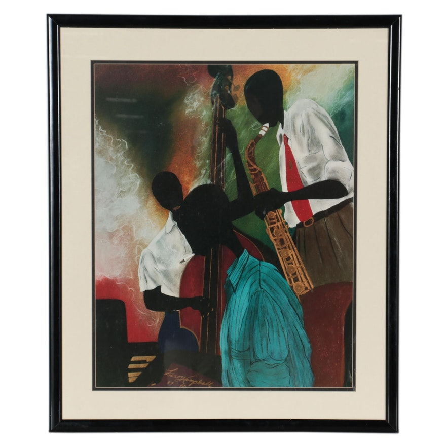"""Offset Lithograph after Leroy Campbell """"Tune Up,"""" circa 1989"""