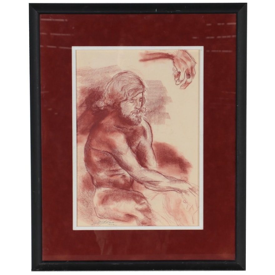 Red Conté Figure Drawing of Seated Male Nude, 1972