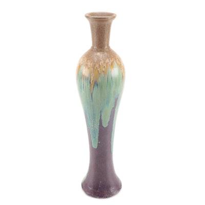 Studio Art Pottery Crystalline Drip Glazed Narrow Baluster Vase