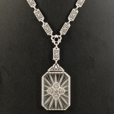 Art Deco 14K Camphor Glass Necklace