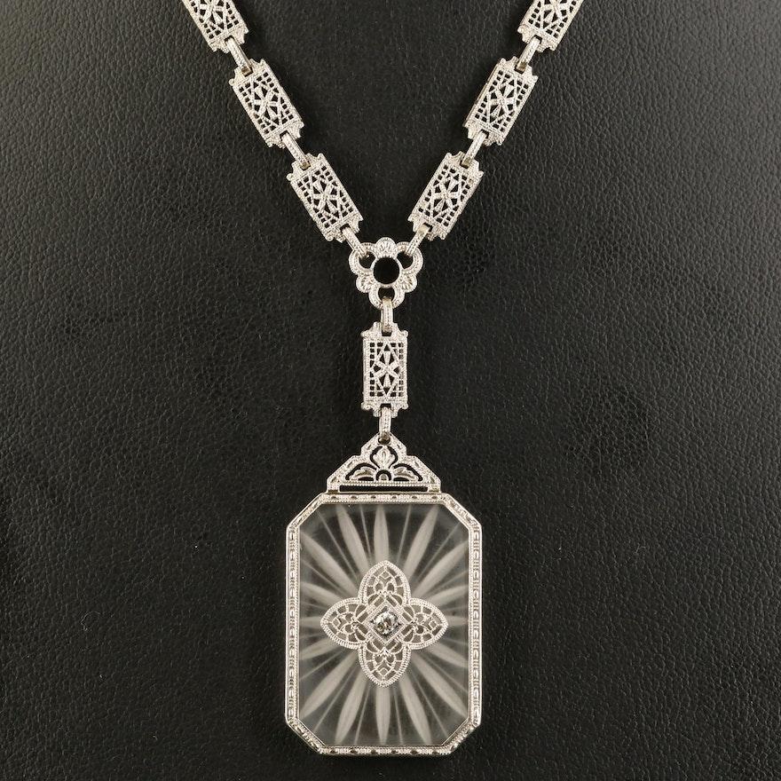 Art Deco 14K Rock Crystal Quartz Necklace