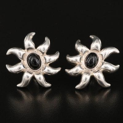 """1987 Tiffany & Co. """"Fireworks"""" Sterling Black Onyx Earrings"""