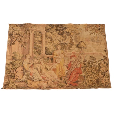 Machine Woven Tapestry with Baroque Style Music Scene, Early to Mid-20th Century