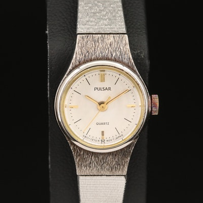 Pulsar Silver Tone Quartz Wristwatch