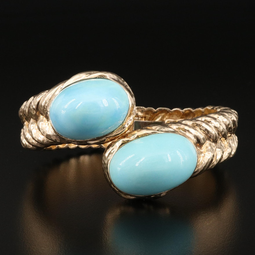 14K Bypass Clamper with Imitation Turquoise